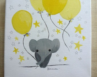 small canvas Elephant and yellow balloons
