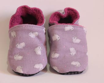 Purple organic cotton baby rabbits, vegan without leather slippers
