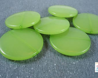 5 large flat beads Apple green opalescent effect, 30mm (ps52)