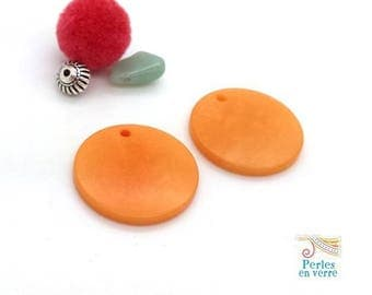 2 charms sequin seed orange 25mm tagua (pb79)