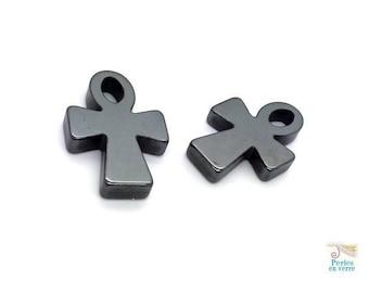 2 pendants cross Egyptian hematite dark gray (pg25)