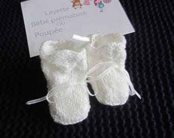 For premature baby or doll clothes: hand made white slippers size 40-45 cms baby knitting pattern
