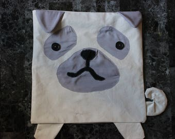 (14 X 14 or 16 X 16) pillow cover. Dog (pug)