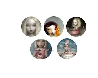 25 mm gorgeous set of 5 glass cabochons to glue 25 mm weird girl