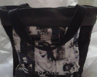 handbag velvet black and grey fabric photo