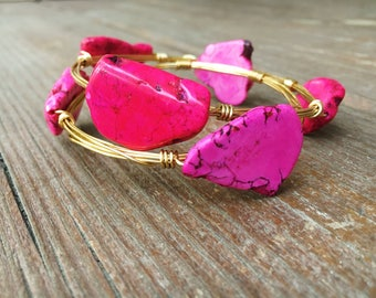 Sunkissed Pink Wire Wrap Bangle