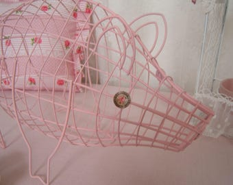 Adorable and cute pig decorative shabby rose