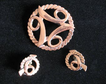 40s Set Copper Colored Brooch Earrings, Renoir Style