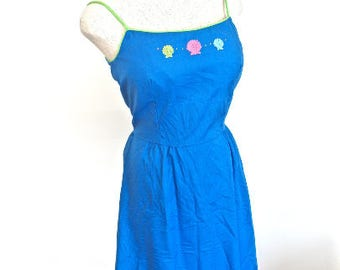 S M 60s 70s  Sundress Seashells Embroidered Blue Pink Green Spaghetti Straps Dress Vintage Small Medium