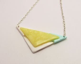 Silver necklace 4 triangles, white, yellow and Mint polymer clay