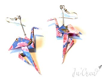 Origami Flamingo flowers earrings