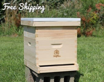 Bee Hive 10 Frame Langstroth - 1 Deep Brood & 1 Medium Super Boxes includes Frames / Foundations