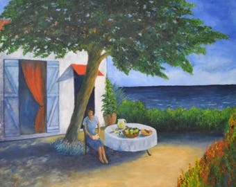 oil painting on canvas of a pleasant relaxing afternoon