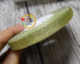 1 roll/22metres sequined Ribbon Green 1 CM