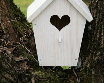 BIRDHOUSE made from pine wood painted white