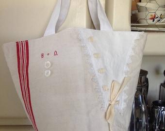 Bag made from antique fabrics, BN Monogram