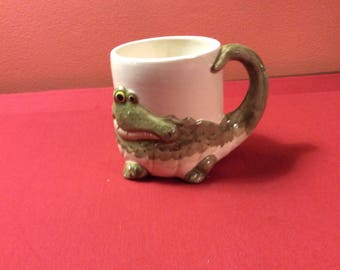 Vintage Porcelain Alligator Mug with Tail Handle