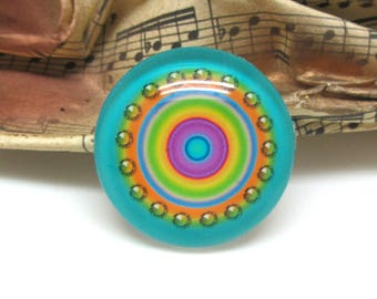 1 cabochon 25 mm glass round candy blue-25 mm