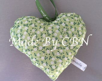 Heart-green cotton printed flowers, hanging Bell