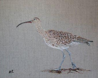 "Table ""Curlew"" bird on natural linen."
