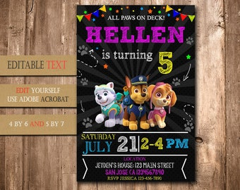 Paw Patrol, Paw Patrol Invitation, Paw Patrol Birthday, Paw Patrol Party, Paw Patrol Birthday Invitation, Paw Patrol Girl Invitation