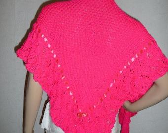 fuschia pink wool hand knit shawl pattern timeless soft.