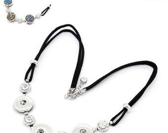 1 necklace rhinestone clasp black pr snap DIY 52 cm long