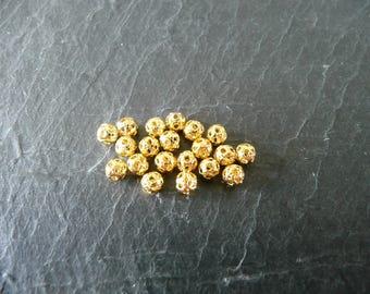 Lot 80 small beads 4mm gold filigree