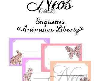 Digital labels animals Liberty print