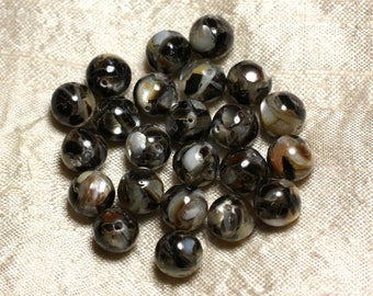 10pc - pearl beads and resin - balls 10mm black and white 4558550015785