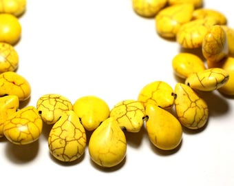 20pc - beads Turquoise drops 16 mm yellow 4558550031426 synthesis