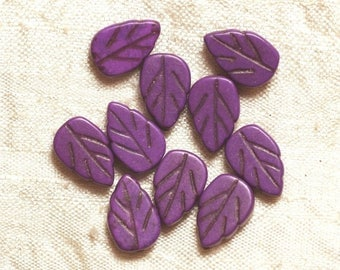 10pc - Pearl Turquoise leaf purple 14 mm 4558550034731 synthesis