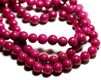 10pc - jade stone - 8mm pink Fuchsia - 4558550089656 balls