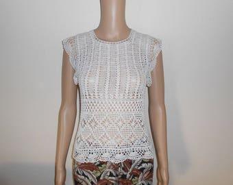 lace top women white crochet.-size 40.