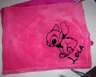 Fleece blanket pink baby personalize it with velvet flocking Stitch + a name