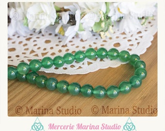 jade green natural 8mm - round beads 10 beads
