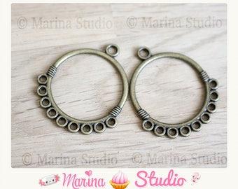 Chandelier connector bronze 3.3 cm x 29.0 mm one pair earrings