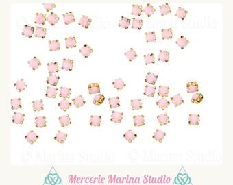 200 rhinestones sewing resin pale pink 4MM