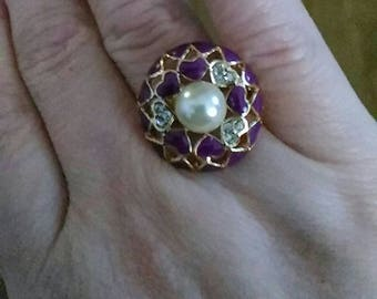 Variegated size 62 ring gold plated and rhinestone