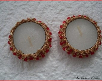Set of 2 candle holders gold and Red seed beads