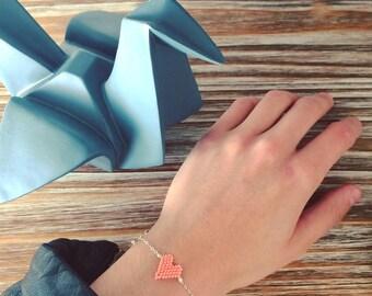 Bracelet cœur tissage perle de miyuki corail