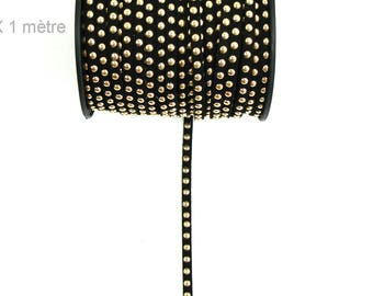 Suede studded cord Black 6mm X 1 meter