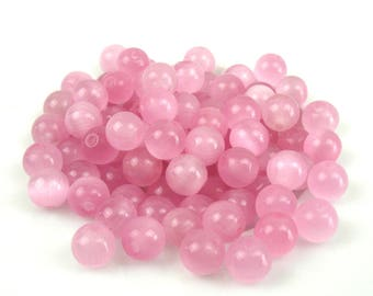 20 6 mm glass old pink cat eye beads
