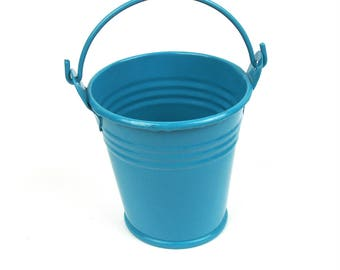 Mini TURQUOISE lacquered zinc bucket