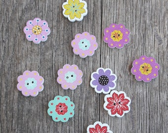 Set of wooden buttons, 20mm in the shape of flowers, several designs / / ID N62