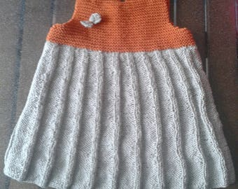 two-tone baby dress made of cotton