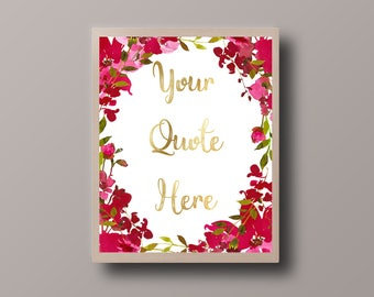 Custom Gold Foil Print, Personalized Quote, Custom Printable, Custom Quote Print, Bohemian Print, Hipster Print, Teen Room Decor