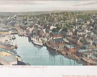 Head of Providence River, Providence RI Vintage / Antique Postcard
