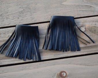 Leather fringe anklets