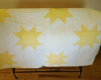 Vintage Yellow Star Quilt